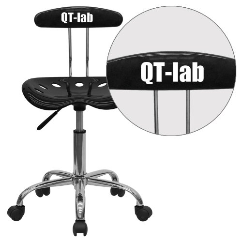"""Personalized Vibrant And Task Chair With Tractor Seat Black/Chrome/16.5""""L x 17""""W x 34.75""""H"""