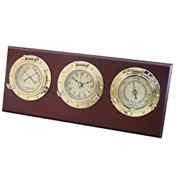 Ambient Weather WS-GL025-CM Porthole Weather Center with Temperature & Humidity, Barometer, and Quartz Clock