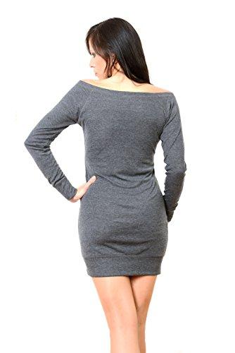 Longue Robe T-shirt Chemise À Manches Longues Avec Petite Fée Par 3elfen, Mini Dame Robe Gris Noir