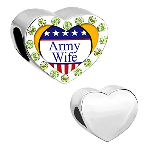 - DemiJewelry August Army Wife Heart Love Photo Beads fit Charm Bracelet