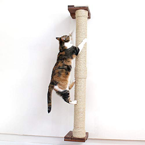 CatastrophiCreations Cat Mod 4' Climbing Vertical Sisal Pole Wall, English Chestnut, One Size