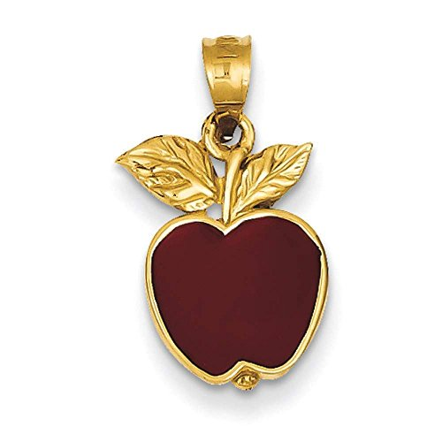 14k Yellow Gold Red Enameled Apple Polished Pendant 20mmx10mm (Yellow Gold Enameled Apple)
