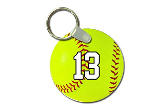 (TYD Designs Key Chain Sports Softball Customizable 2 Inch Metal and Fully Assembled Ring with Any Team Jersey Player Number 13)
