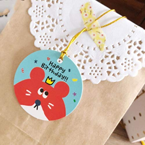 happy happy birthday 6.3x3.6cm Fityle 50pcs Kraft Dangle Tags Birthday Package Labels Colorful Bookmarks Home Decoration Wedding Decoration Party Adorn Proposal Embellishment Tags