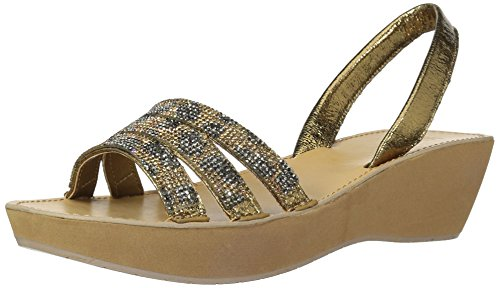 Kenneth Cole REACTION Women's Fine Wedge Slingback Jeweled Platform Sandal, Leopard Gold, 7 M - Platform Mini Slingback Sandal