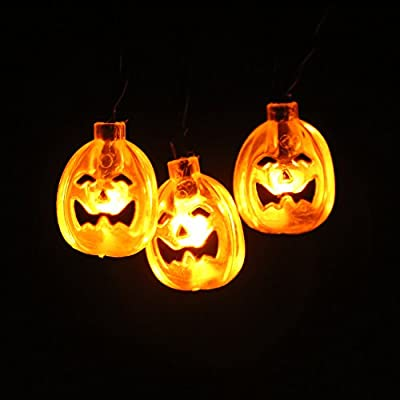 Pumpkin String Lights Battery Operated 10 LEDs 5FT Halloween Decoration Lights String LED for Indoor, Festival, Party, Holiday(3D Pumpkin)