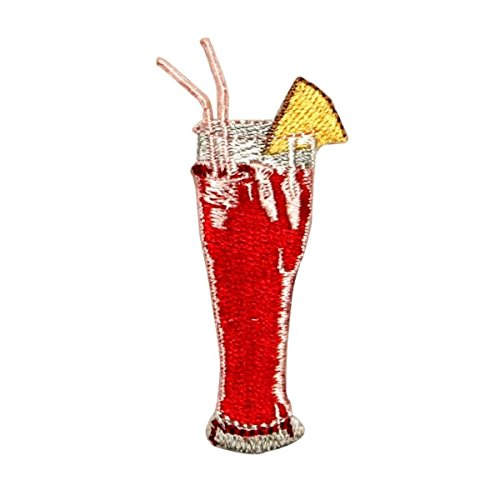 ID 1126 Fruity Cocktail Drink Patch Alcohol Glass Embroidered Iron On Applique