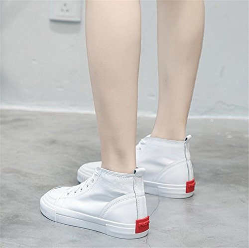 Deck New Spring Fall top Shoes Small Hollow Shoes Academy Exing Shoes Canvas High Flat Breathable A Shoes White Women's 1SpCnA