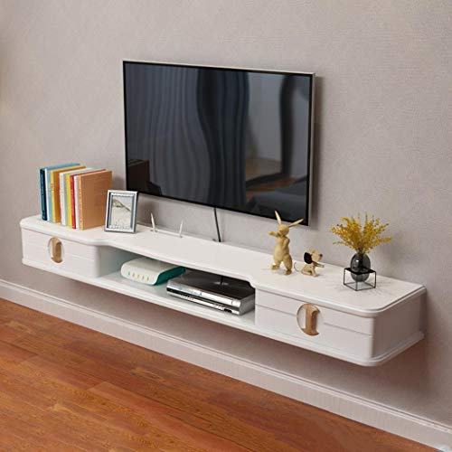 Floating TV Cabinet Wall Hanging TV Stand Wall Mounted TV Cabinet Hanging Entertainment Media Center Storage Console Game Console Audio/Video Console with Drawers and Open Storage -
