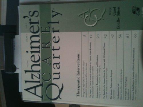 Alzheimer's Care Quarterly: Activity: Volume 1, Issue 2 (Activity: Spring 2000, Volume 1, Issue 2)