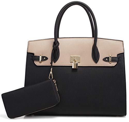DELUXITY Women's Designer Top Handle Satchel Handbag Tote Bag Briefcase 2pc set | Black/Beige