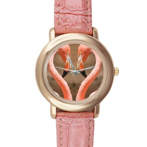 Gifts for girls or ladies Flamingos Fall in Love Pattern Pink Leather Alloy High-grade Watch