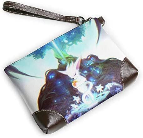 BFDX Ori and The Will of The Wisps Pochettes en Cuir Sac à Main Zippered Phone Card Ceinture Poignet Dames Bracelets en Cuir Pochette en Cuir Mens Real Cowhide Clutches Purses