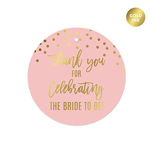 Andaz Press Blush Pink and Metallic Gold Confetti Polka Dots Bachelorette Party Bridal Shower Collection, Round Circle Gift Tags, Thank You for Celebrating The Bride to Be, 24-Pack -