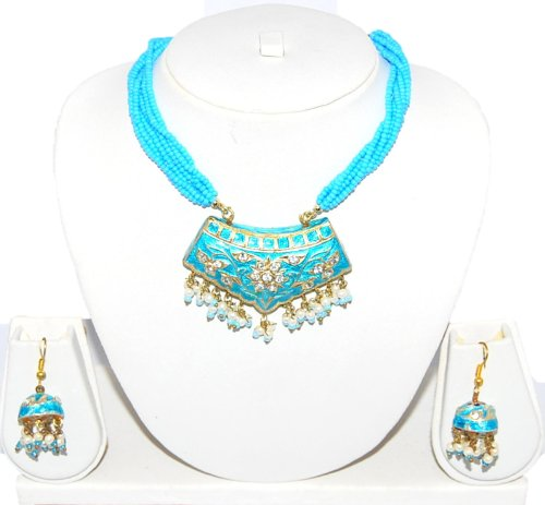 Authentic Designer Indian Lac / Rajasthani Style Costume Jewelry Set for Women / AZINLC024-LBL - Designer Costume Jewellery Mumbai