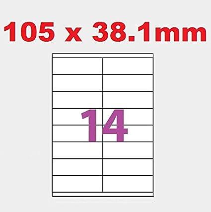 20 A4 hoja 14 etiqueta de papel etiqueta adhesiva 105 X 38 ...