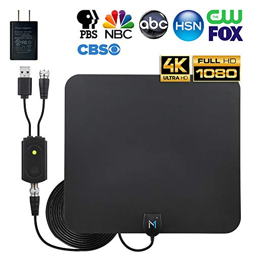 HD Digital TV Antenna 75-100 Miles Long Range Signal Reception; Low Noise Amplifier to Boost Signal is Included; Supports all TV formats; 4K, 1080p and more, Mata1 (a USA Company)