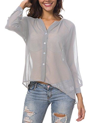 Hotiary Women's Button-Down Blouse 3/4 Long Sleeve Vneck Casual Plain Work Top See Through Sexy Semi Sheer Chiffon T-Shirt - Ladies Semi Sheer T-shirt