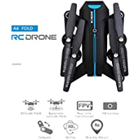 QingFan Quadcopter Foldable Drone with HD Camera RTF 4 Channel 2.4GHz 6-Gyro with Altitude Hold Function,Headless Mode and One Key Return (Black)