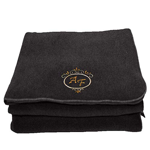 BgEurope Personalized Custom Embroidered Polar Sofa Bed Travel Fleece Blanket - REF. Deluxe - Grey