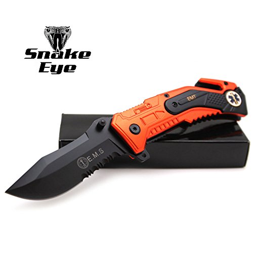 (Snake Eye EMS EMT Rescue Style Spring Assist Open Folding Pocket Knife (EMS-1))