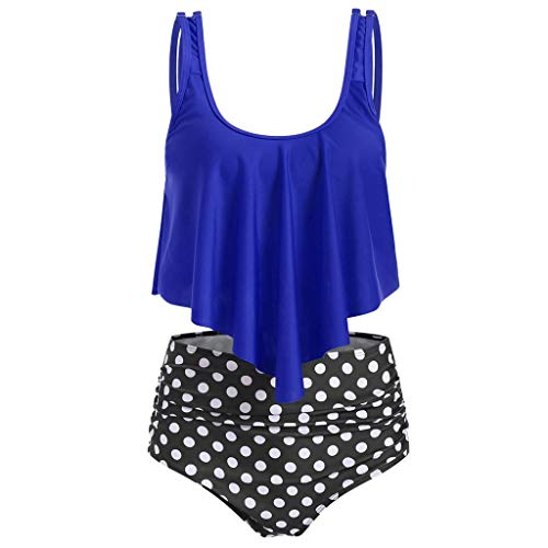 (Gerichy Swimwear Swimsuits for Women Bandeau Blouson Tankini Top High Waisted Moderate Bottom Two Piece Swimsuits Bathing Suits Blue)