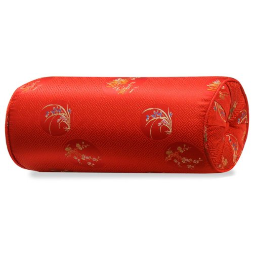 ChinaFurnitureOnline Chinese Silk Neck Pillow, 15 Inches Four Season Flowers Motif Red ()