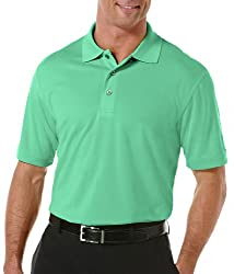 PGA TOUR Mens Airflux Solid Polo Shirt Small Bright aqua blue