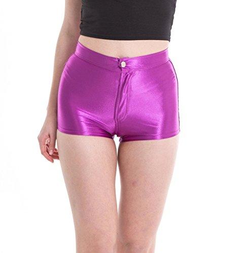 Manstore Women's Shiny Satin Metallic Wet Look Sexy Short Hot Pants 9 Colors Purple (Metallic Spandex Hot Shorts)