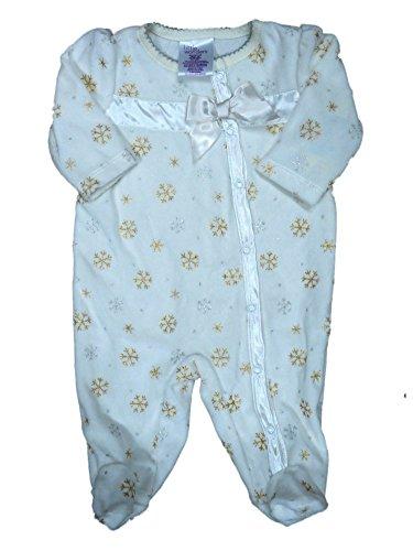 Velour Snowflake - Infant Girls Ivory & Gold Velour Snowflake Blanket Sleeper Baby Footed Pajamas White