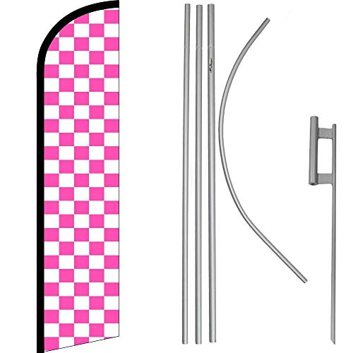 ALBATROS Pink with White Checkered Windless Banner Flag with 16in Flagpole Kit/Ground for Home and Parades, Official Party, All Weather Indoors Outdoors
