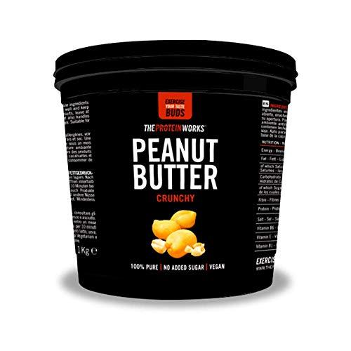 땅콩 버터 | 100 % 천연 구운 땅콩 버터, 채식 | 단백질 WORKS, 슈퍼 바삭 바삭, 1kg