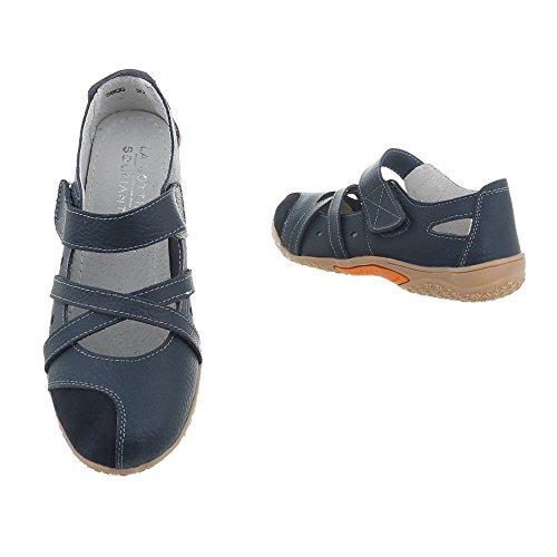 Zapatos para mujer Zapatos de tacon Plataforma Cuñas Ital-Design Bleu foncé 5806-1