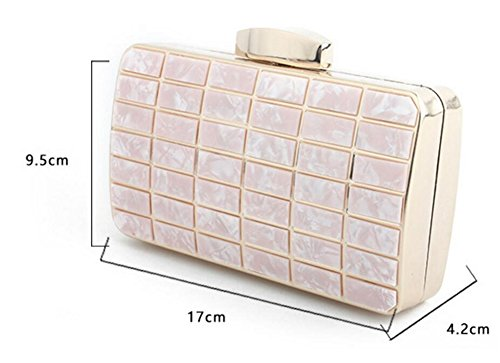 Acrylic Handbag Wedding Marble Dress Pink Ladies Party Clutch Pattern Shoulder Evening 5nwCqxaRx0
