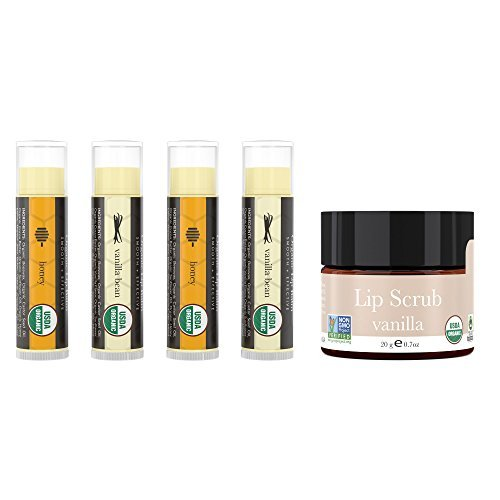 Lip Balm and Scrub Bundle - 4 Pack of Honey & Vanilla Moisturizer with Vanilla Exfoliating Sugar Scrub, Best Gift for Stocking Stuffer, Birthday or Present for Women and Girls, USDA Organic -