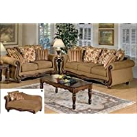Olysseus Collection Brown Floral Sofa Set