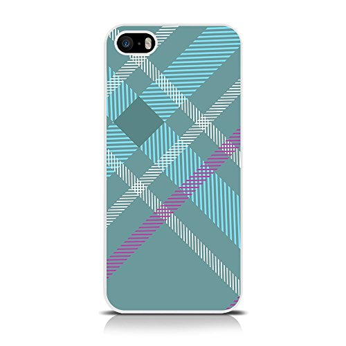 CallCandy Totally Tartan Bleu sarcelle Fashion Coque pour Apple iPhone se/5S/5/5–Bleu Sarcelle/cyan/Violet/Blanc