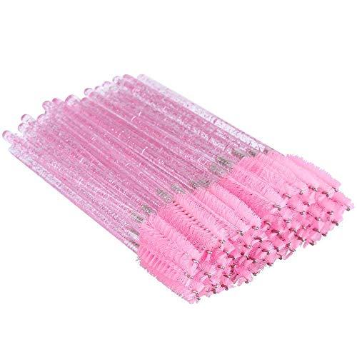 100PCS Crystal Eyelash Mascara Brushes Wands Applicator Makeup Kits (Pink)
