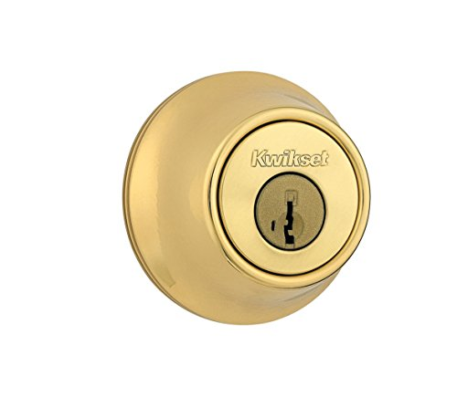 - Kwikset 660 Single Cylinder Deadbolt featuring SmartKey Security in Polished Brass