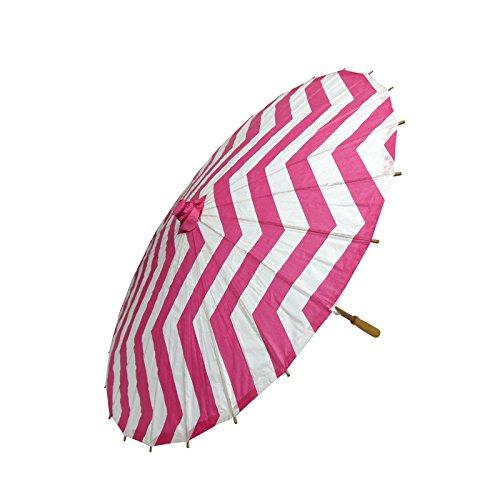 Fuchsia Chevron Paper Parasol Umbrella