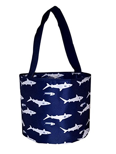 Personalized Fabric Bucket Tote Bag for Children - Toys - Easter Basket (Navy Shark Print - Embroidered Name)