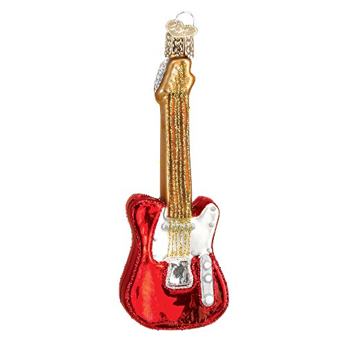 Old World Christmas Rock-And-Roll Instrument Glass Blown Ornament (Electric Guitar Red) ()