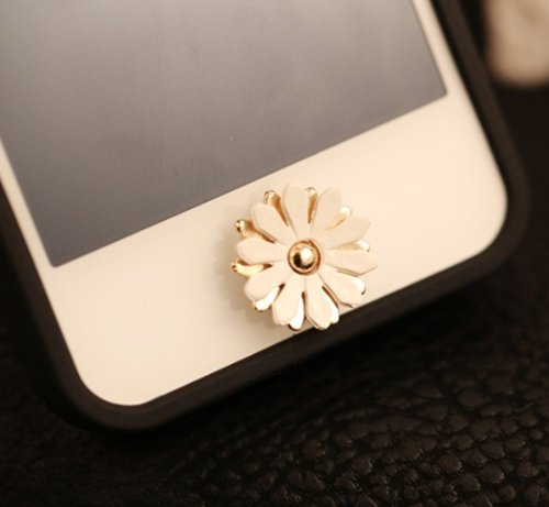 Big Mango Pretty Daisy Flower Iphone Home Return Key Button Sticker / Cell Phone Charms for Apple Iphone 5 5s 5c Iphone 4 4s Ipod Touch Ipad Tablet Replace Replacement - White