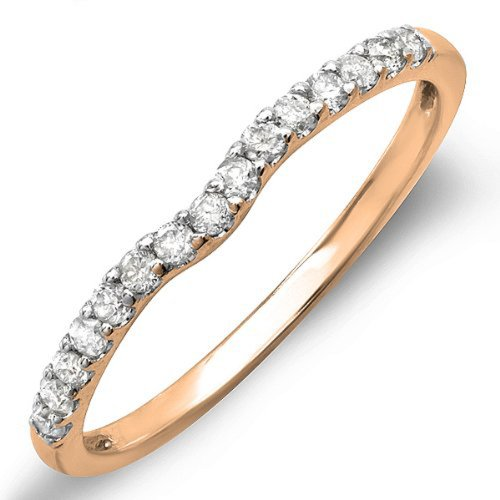 0.25 Carat (ctw) 14K Rose Gold Round White Diamond Anniversary Wedding Ring Matching Band 1/4 CT (Size (0.25 Ct Round Rose)
