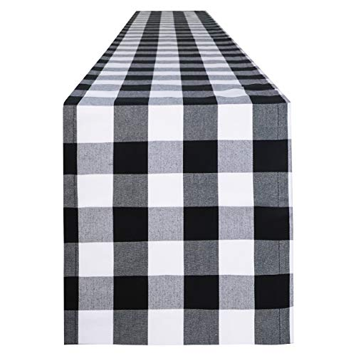 Syntus 14 x 108 inch Buffalo Check Table Runner Cotton-Polyester Blend Handmade Black and White Plaid for Family Dinner, Outdoor or Indoor Parties, Thanksgiving, Christmas & Gathering