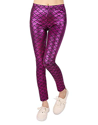 Loxdonz Kids Baby Girls Mermaid Fish Scale Stretch Long Leggings Tight Pants (13 Years, - Foil Cerise