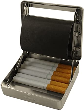 All In One Automatic Cigarette Roller U0026 Storage Box (Silver) (For King Size