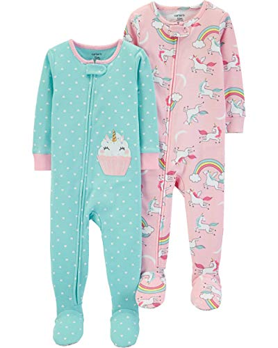 Carter's Baby Girls 2-Pack Cotton Footed Pajamas, Unicorn/Cupcake, 24 Months ()