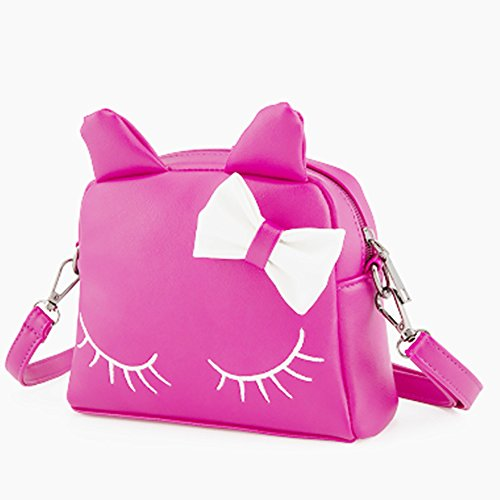 Pinky Family Cute Cat Ear Kids Handbags PU Leather Crossbody Bags and Backpacks (Rosy) (Cat Toy Gift Purse)