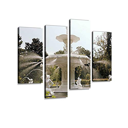 Center Fountain at Forsyth Park Canvas Wall Art Hanging Paintings Modern Artwork Abstract Picture Prints Home Decoration Gift Unique Designed Framed 4 Panel (Garden Wall Formal Fountain)